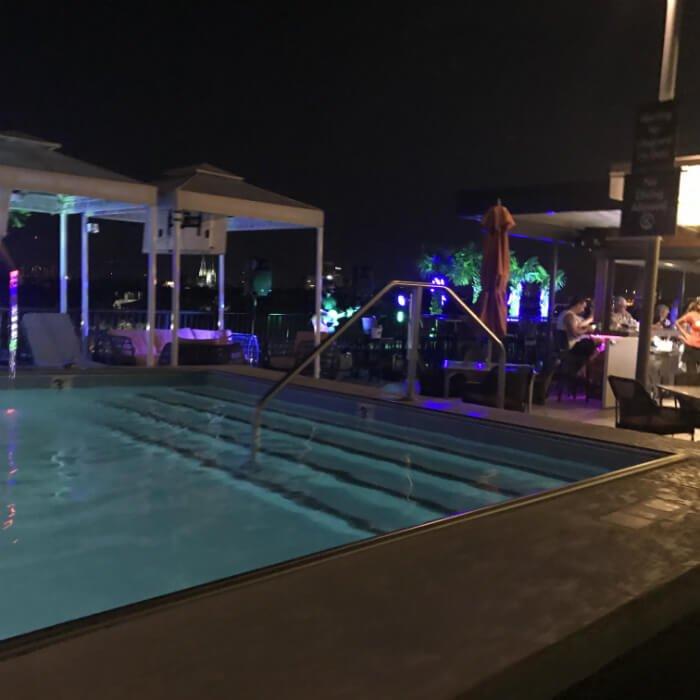 savannah homewood suites swimming pool nighttime