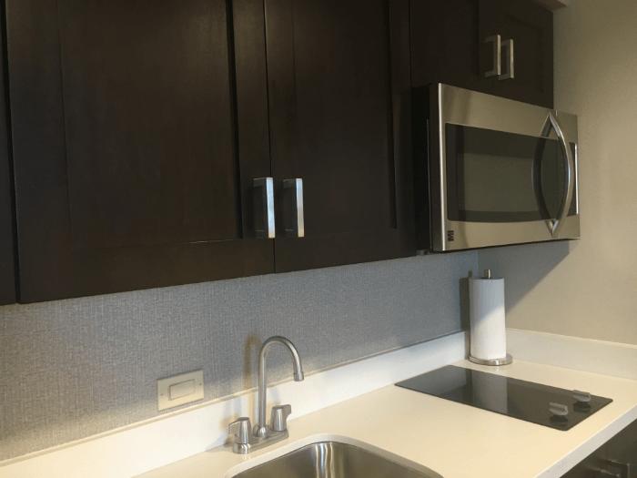 kitchen homewood suites savannah hotel room microwave