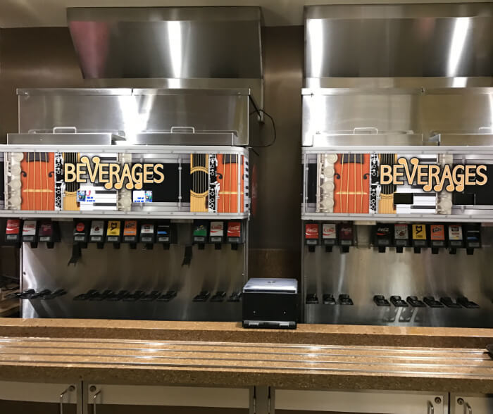 drink machines in Disney's All Star Music Resort food court