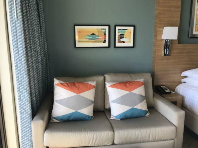 Sofa in Bay Lake Tower hotel room