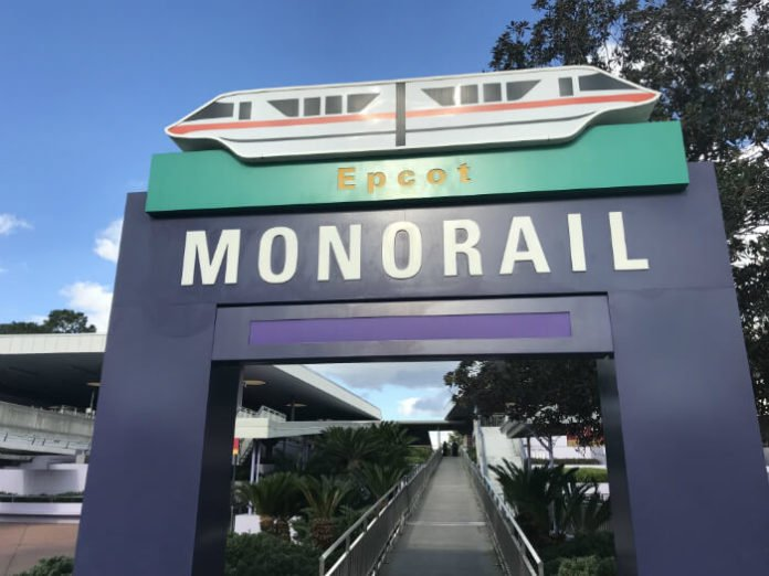 sign for monorail to EPCOT at Disney World