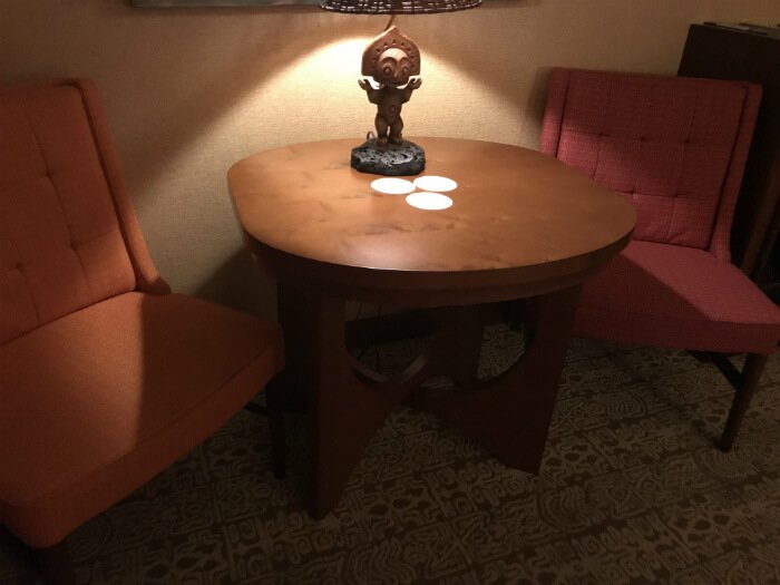tiki lamp on table in Polynesian Village Resort hotel room