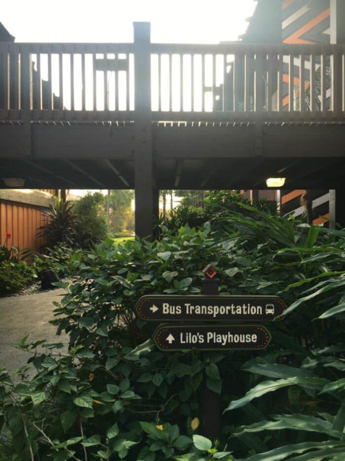 sign to bus transportation to Disney parks at Polynesian Village Resort