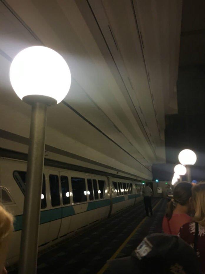 monorail inside Disney's Contemporary Resort at night