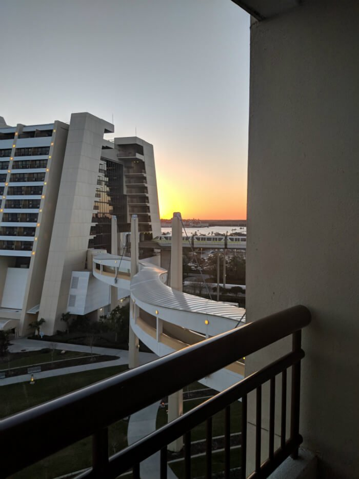 view from Bay Lake Tower of walkway and Disney's Contemporary Resort