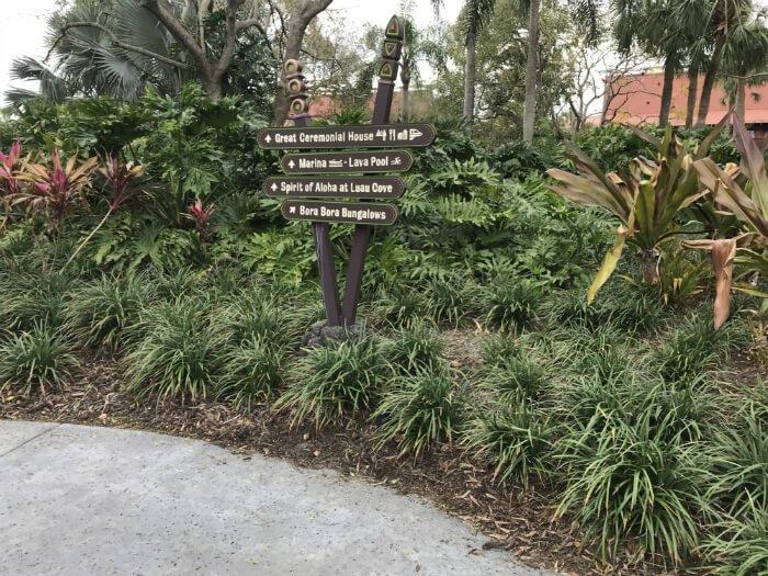 Polynesian Village Resort sign to Great Ceremonial House, Marina, Pool, Luau Cove, Bungalows