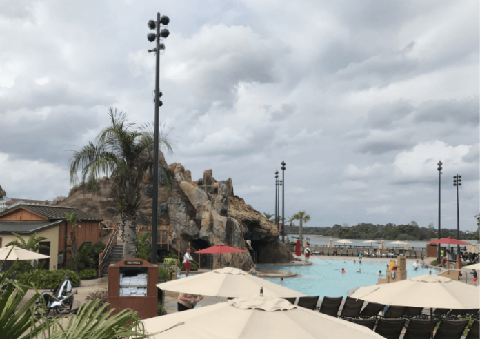 Polynesian Village Resort pool and volcano slide