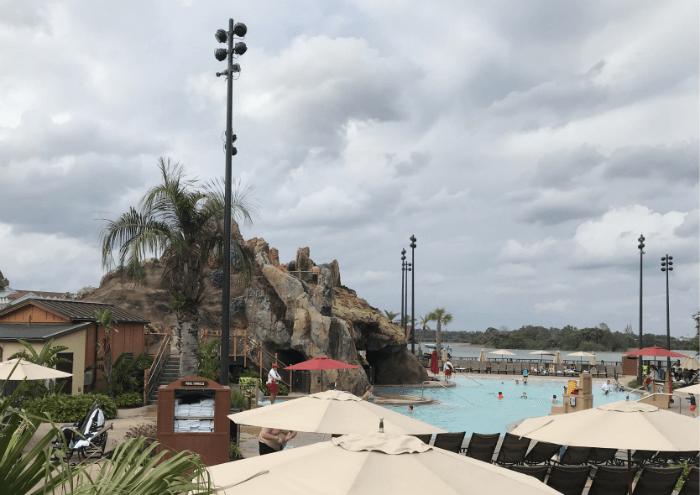 Polynesian Village Resort pool and volcano slide