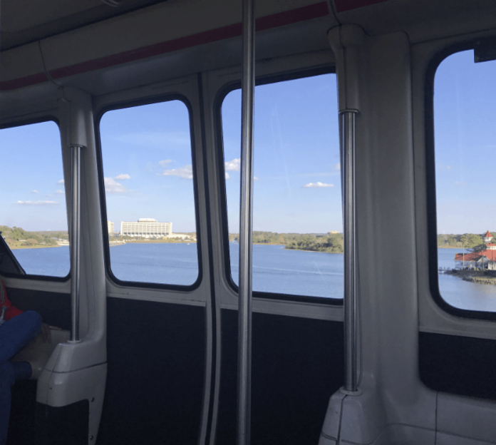 view of Contemporary Resort and Grand Floridian from Disney's monorail
