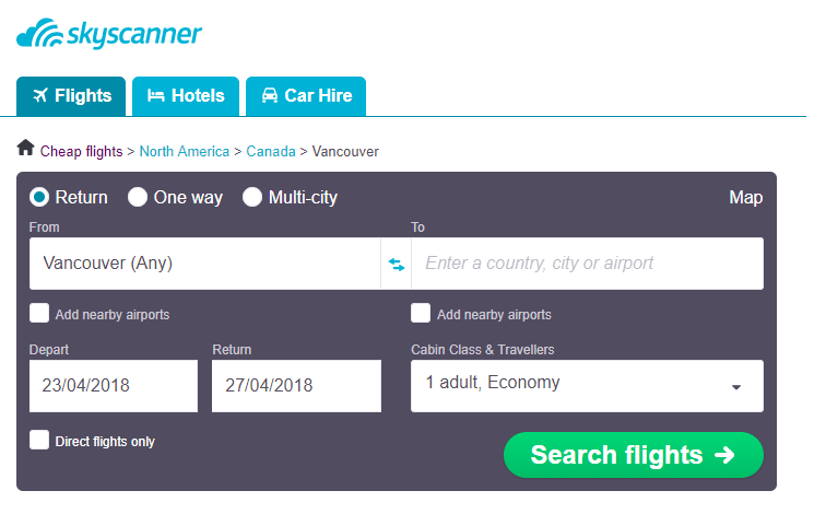 Step by step guide for getting cheap flights from Vancouver