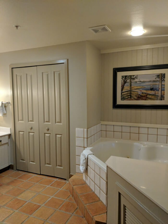 bathrub in bathroom of 1 bedroom villa at Disney Hilton Head Island resort