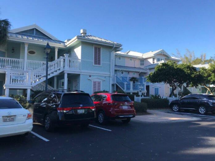 Disney's Old Key West resort parking lot outside hotel building
