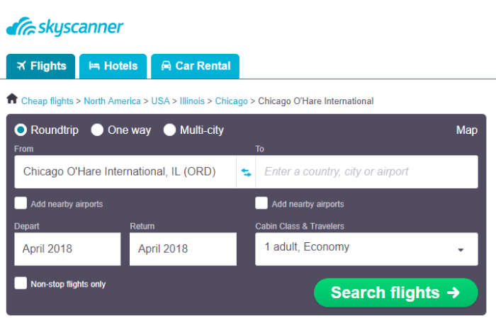 Online tool to help you find cheap flights from Chicago Illinois