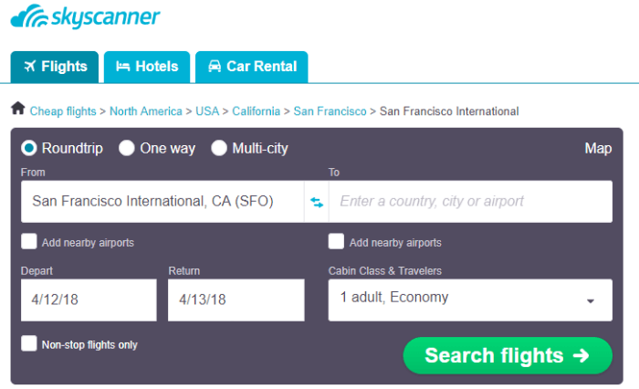 Tool to help you find cheapest flights out of SAn Francisco International Airport
