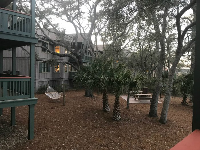 outside Disney's Hilton Head Island Resort buildings, hammock, picnic tables