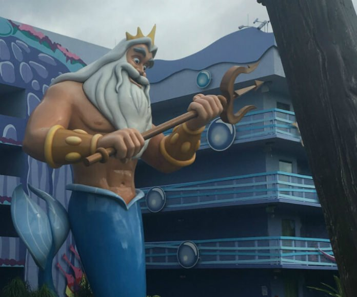 King Triton outside Art of Animation hotel Little Mermaid section