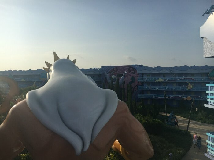 balcony view of Little Mermaid section of Disney's Art of Animation resort hotel