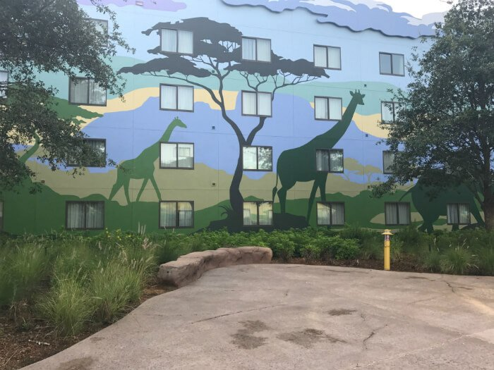 Disney's Art of Animation hotel outside Lion King building giraffe