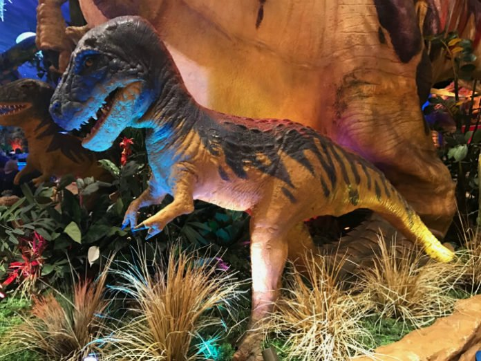 dinosaur at T-Rex restaurant at Disney Springs Orlando