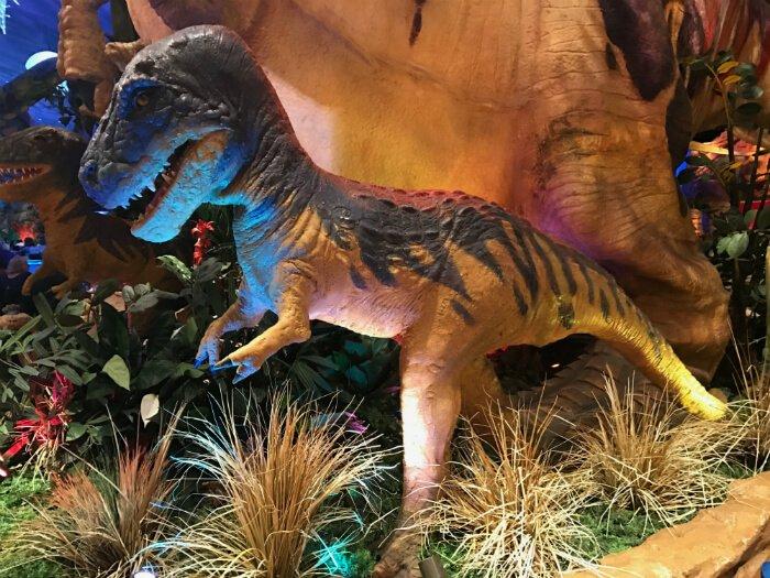 dinosaur at T-Rex restaurant at Disney Springs Orlando