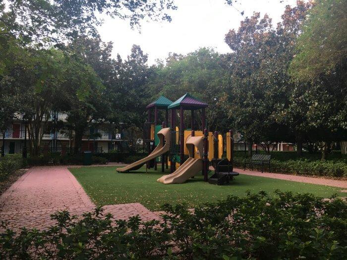 children's playground at Disney's Port Orleans French Quarter hotel