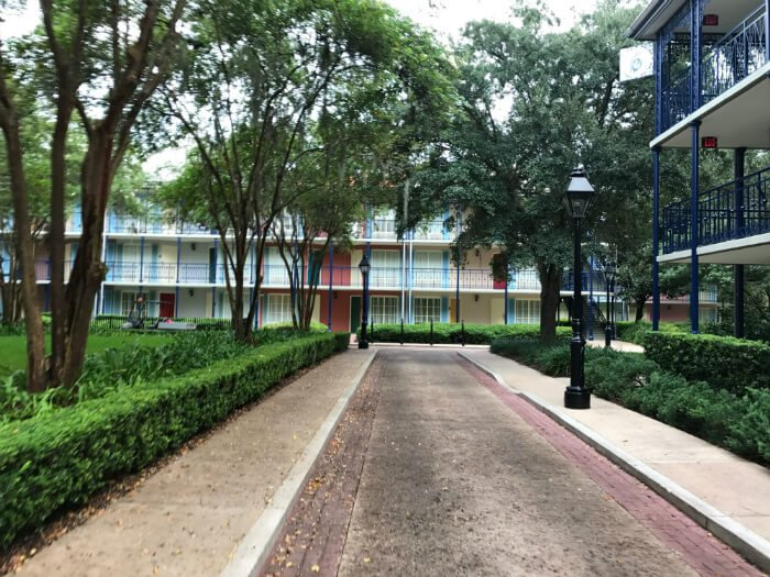 Port Orleans French Quarter hotel New Orleans theming outside buildings