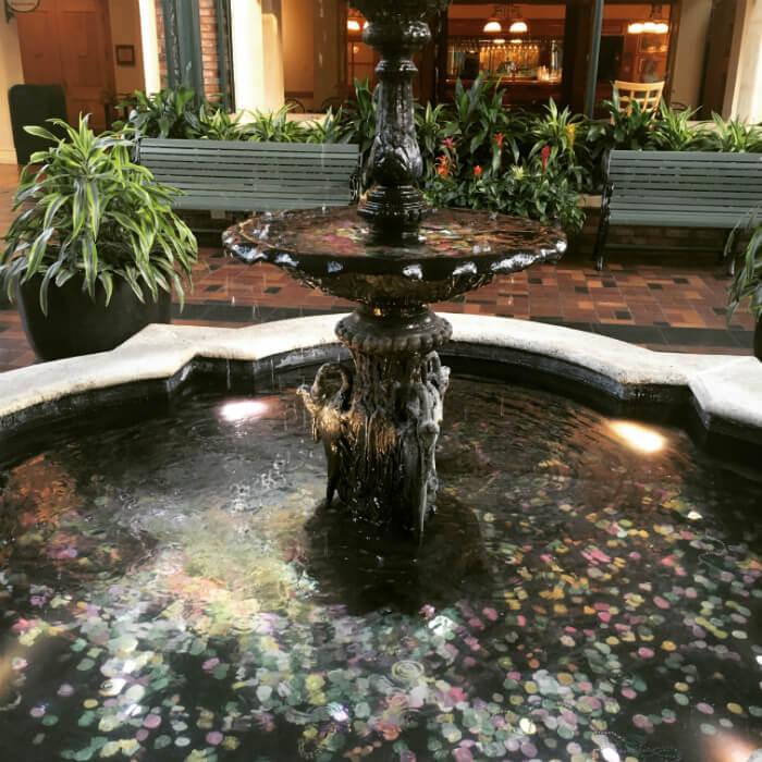 fountain lobby Port Orleans French Quarter hotel Orlando