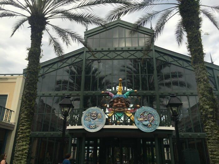 Disney's Port Orleans French Quarter hotel exterior Mardi Gras theme