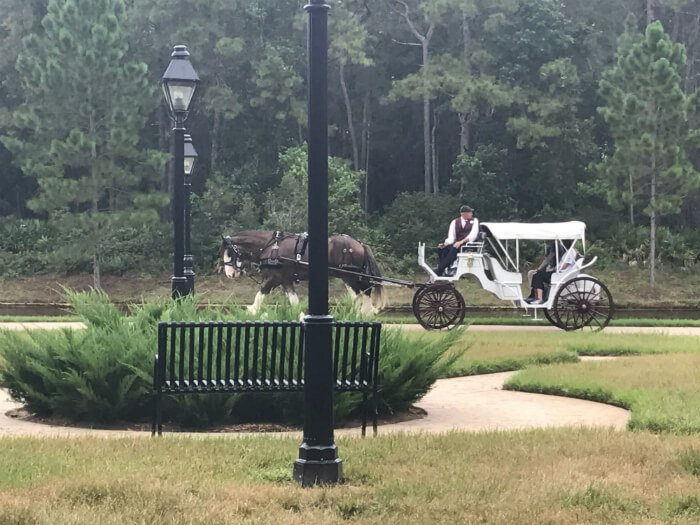 horse and carriage ride at Disney's Port Orleans French Quarter hotel