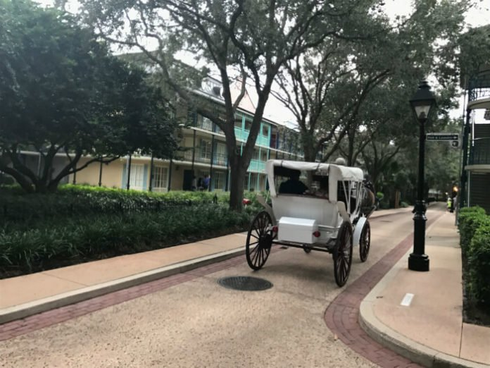 horse carriage Port Orleans French Quarter Disney resort hotel grounds