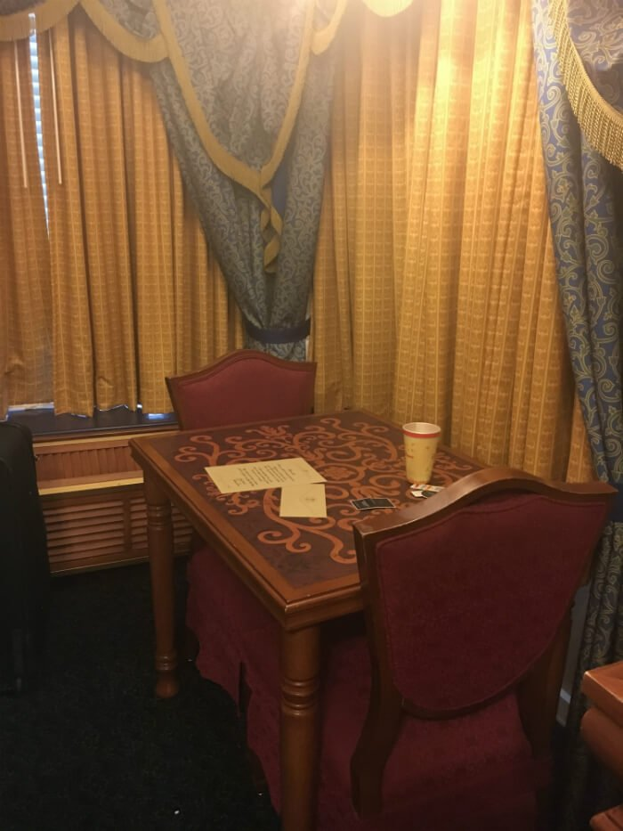 Disney's Port Orleans Riverside Royal Hotel Room table chairs curtains