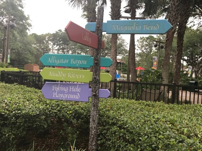 signs at Port Orleans Riverside for Magnolia Bend, lobby, Alligator Bayou, Muddy Rivers, Fishing Hole Playground