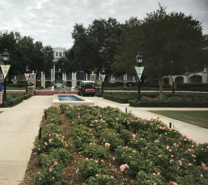 Port Orleans Riverside fountains, flowers, hotel buildings at Disney resort