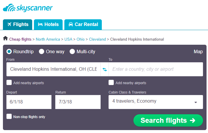 Use Skyscanner to help you find cheapest flights from Cleveland to anywhere in the world