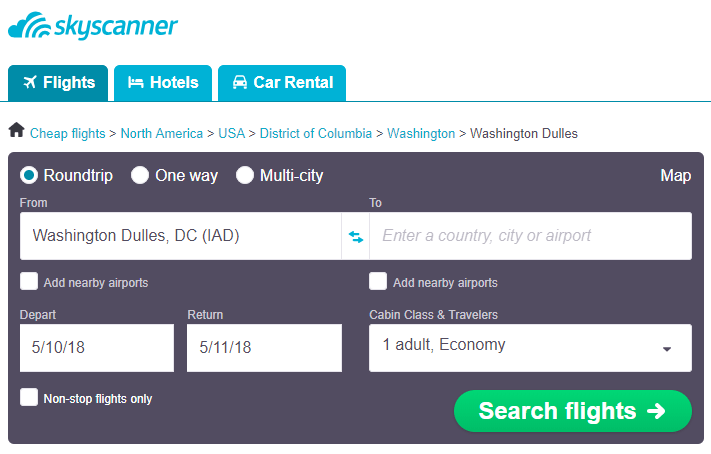 How to find cheap flights from Washington Dulles International & nearby airports