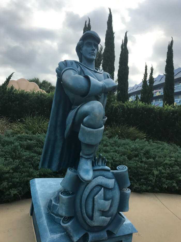 King Eric statue outside Little Mermaid buildings at Art of Animation Disney hotel