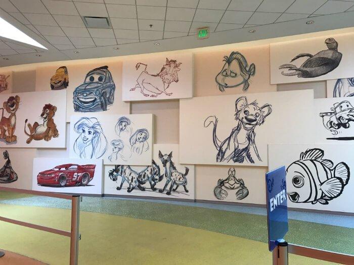 Art of Animation lobby cartoon cells Disney World