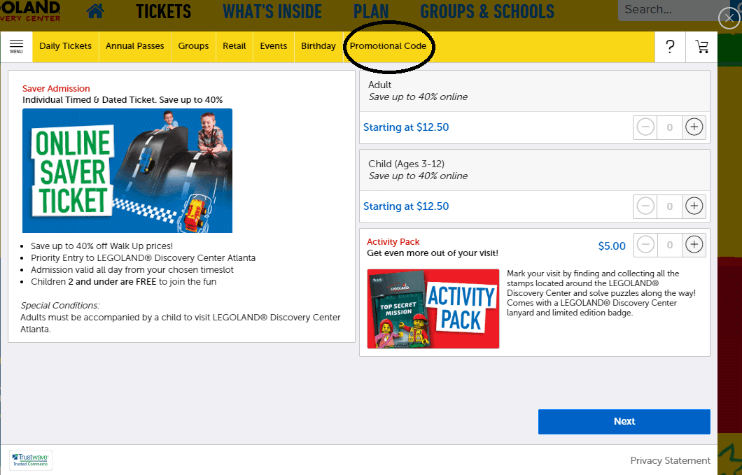 How to use a promotional code on LEGOLAND Discovery Center Atlanta's website