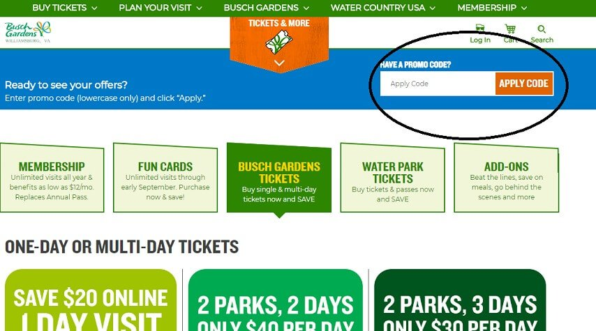 ... Step By Step Instructions To Use Promo Code For Busch Gardens  Williamsburg