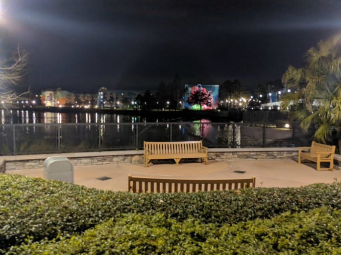 view of Art of Animation hotel from Pop Century resort at Disney World