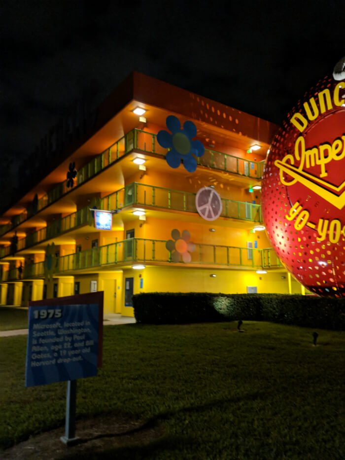 Disney's Pop Century resort hotel building, giant yo-yo, 1975 fact sign