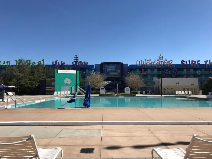 Computer Pool in 1990s section of Disney's Pop Century Resort hotel