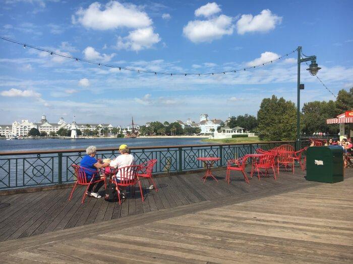 Outdoor dining at Disney's Boardwalk Inn beautiful views
