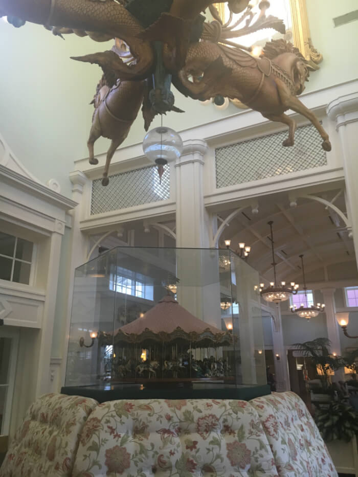 Picture with a great view of carousel decoration & mobile at Disney's Boardwalk Inn