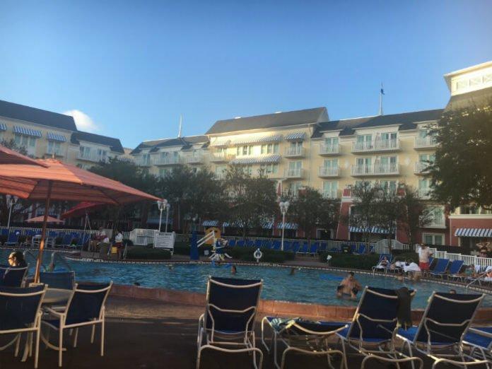 Families enjoying pool at Disney's Boardwalk Inn in Orlando FL