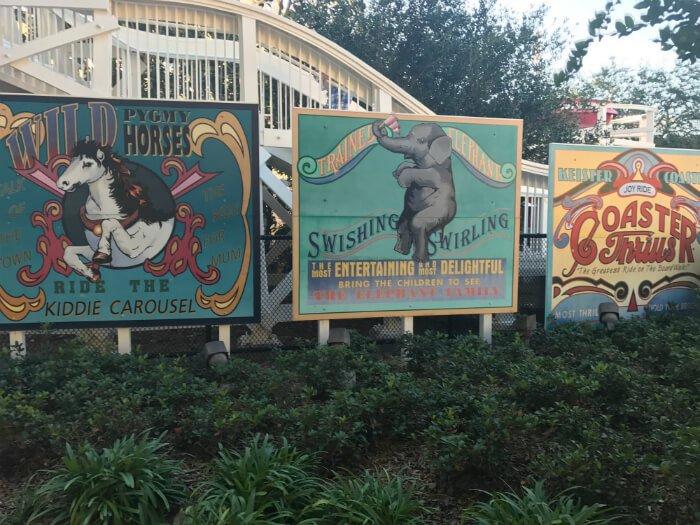 Beautiful playful colorful signs at Disney's Boardwalk Inn pool