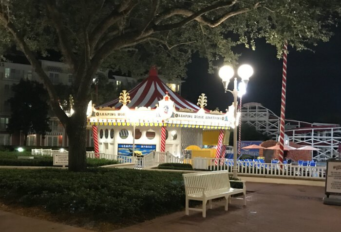 Nighttime picture at beautiful Disney's Boardwalk Inn in Orlando