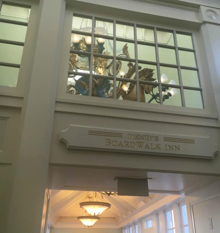 Beautiful entrance to Disney's Board Walk Inn in orlando, florida