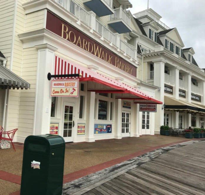 Boardwalk Bakery has refillable mug option & great affordable food in Walt Disney World