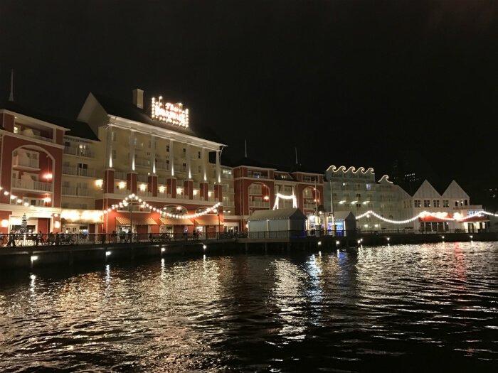 Disney's Boardwalk Inn hotel at night